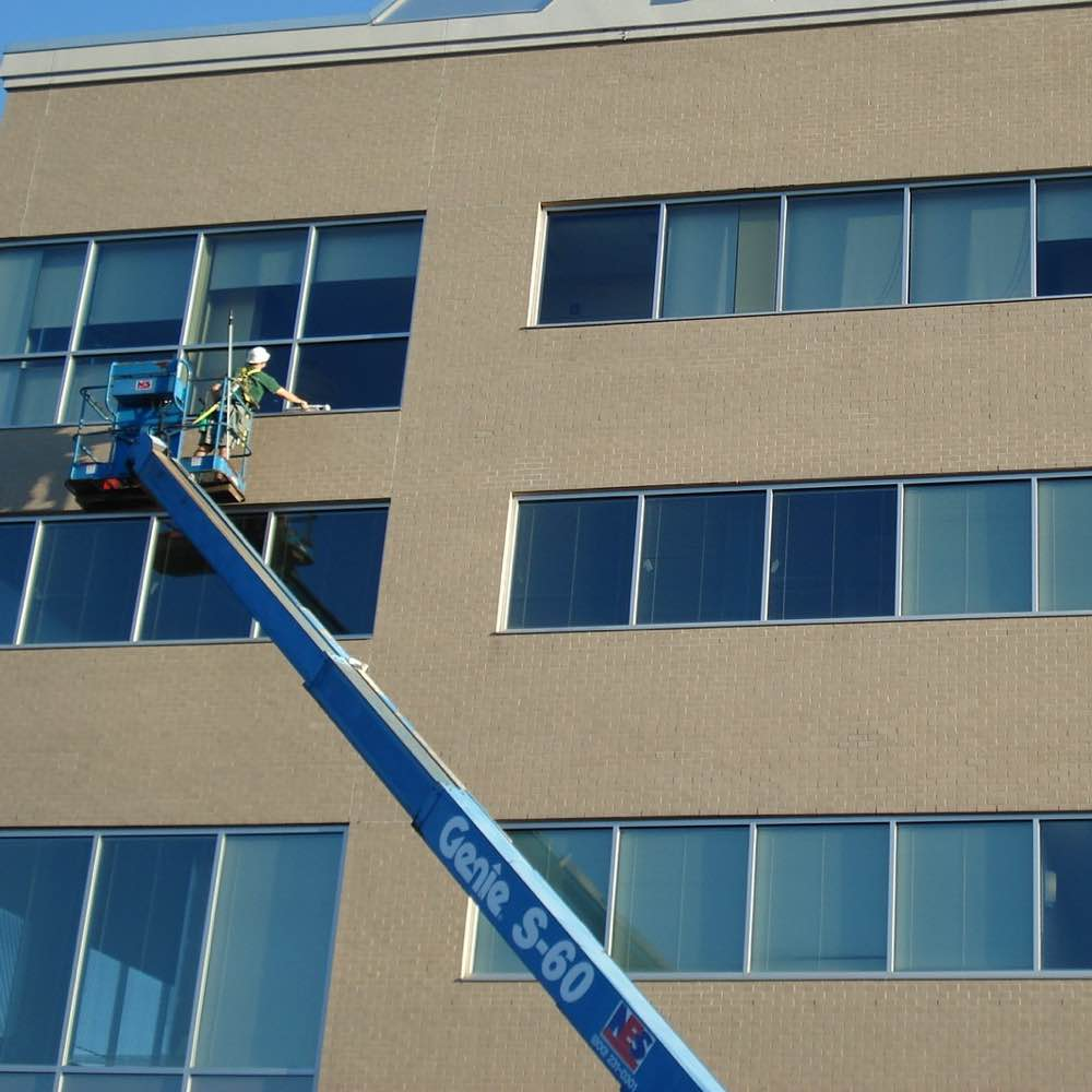 Commercial building in Butler getting windows cleaned
