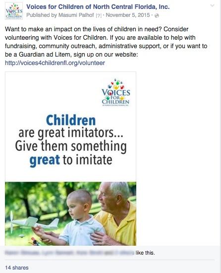 Voices for Children Social Media Sample
