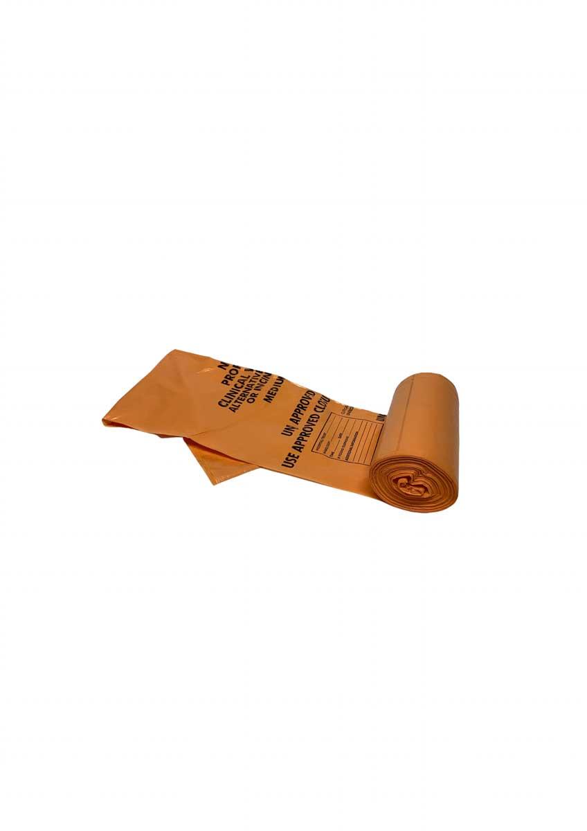orange soft clinical haz bags