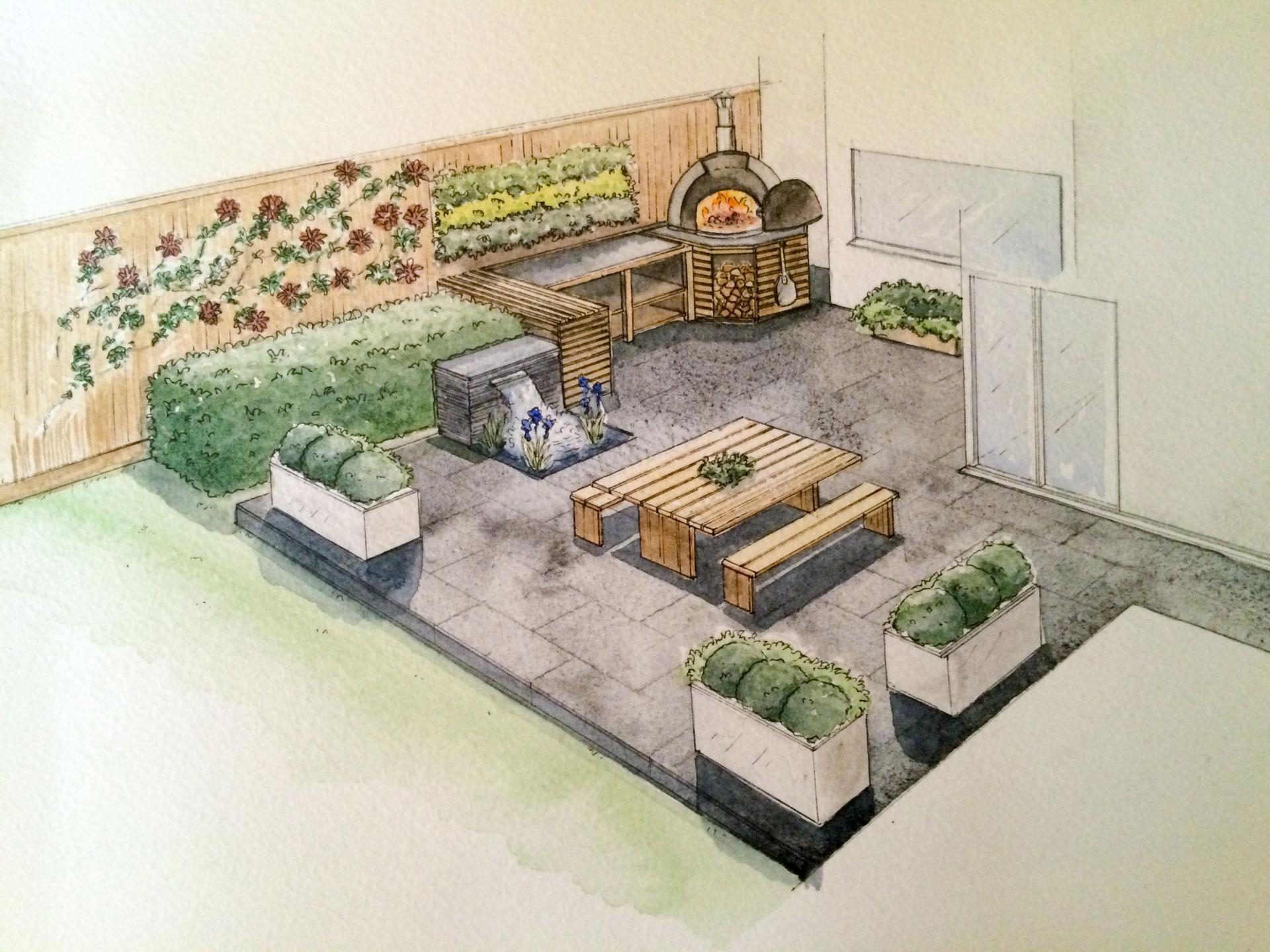 Water Colour Kitchen Garden