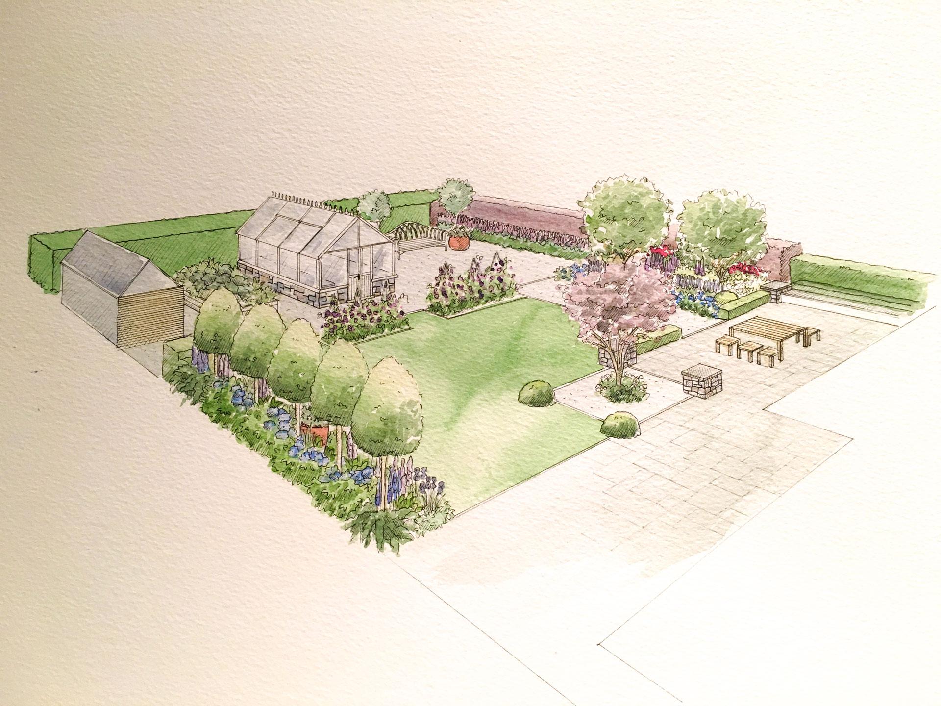 Garden Design with Greenhouse