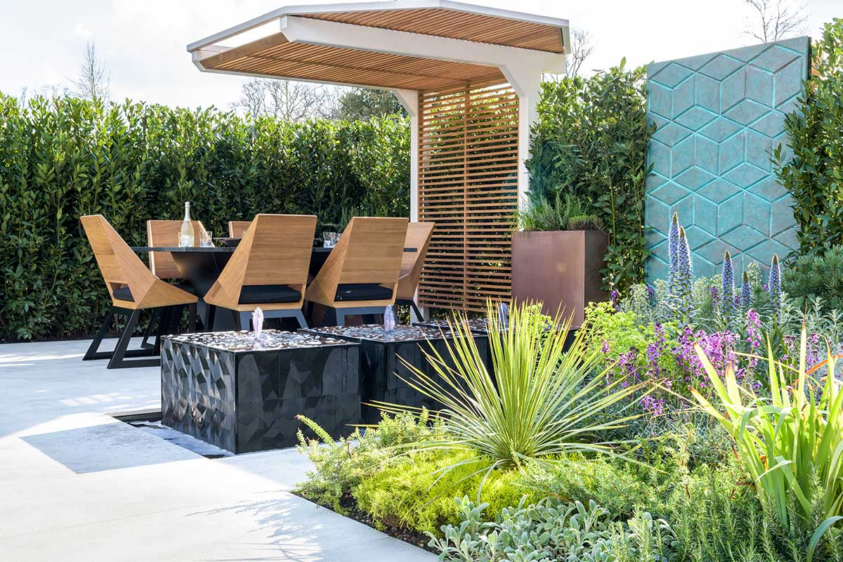 Custom Garden dining area and water feature