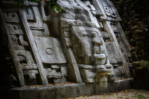 Photo of Belize Mayan mask at Lamanai