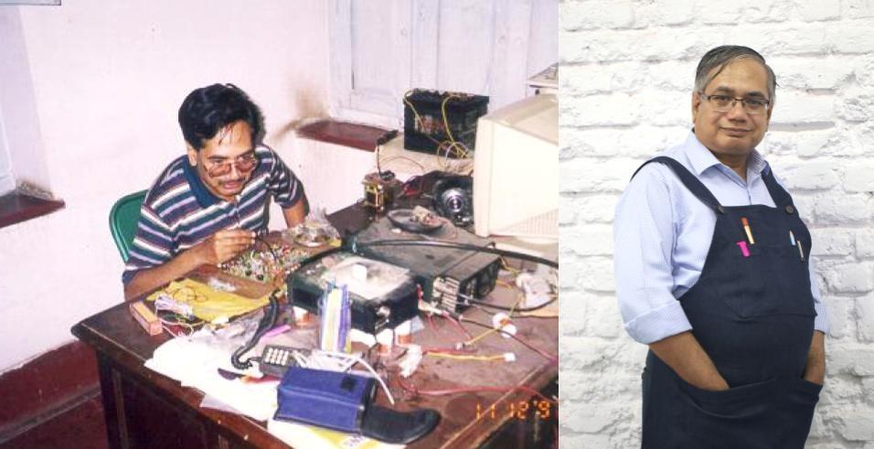 Dr. Guruprasad Rao working at self assembled Kolkata Kit with VU3KTW (VHF transceiver)