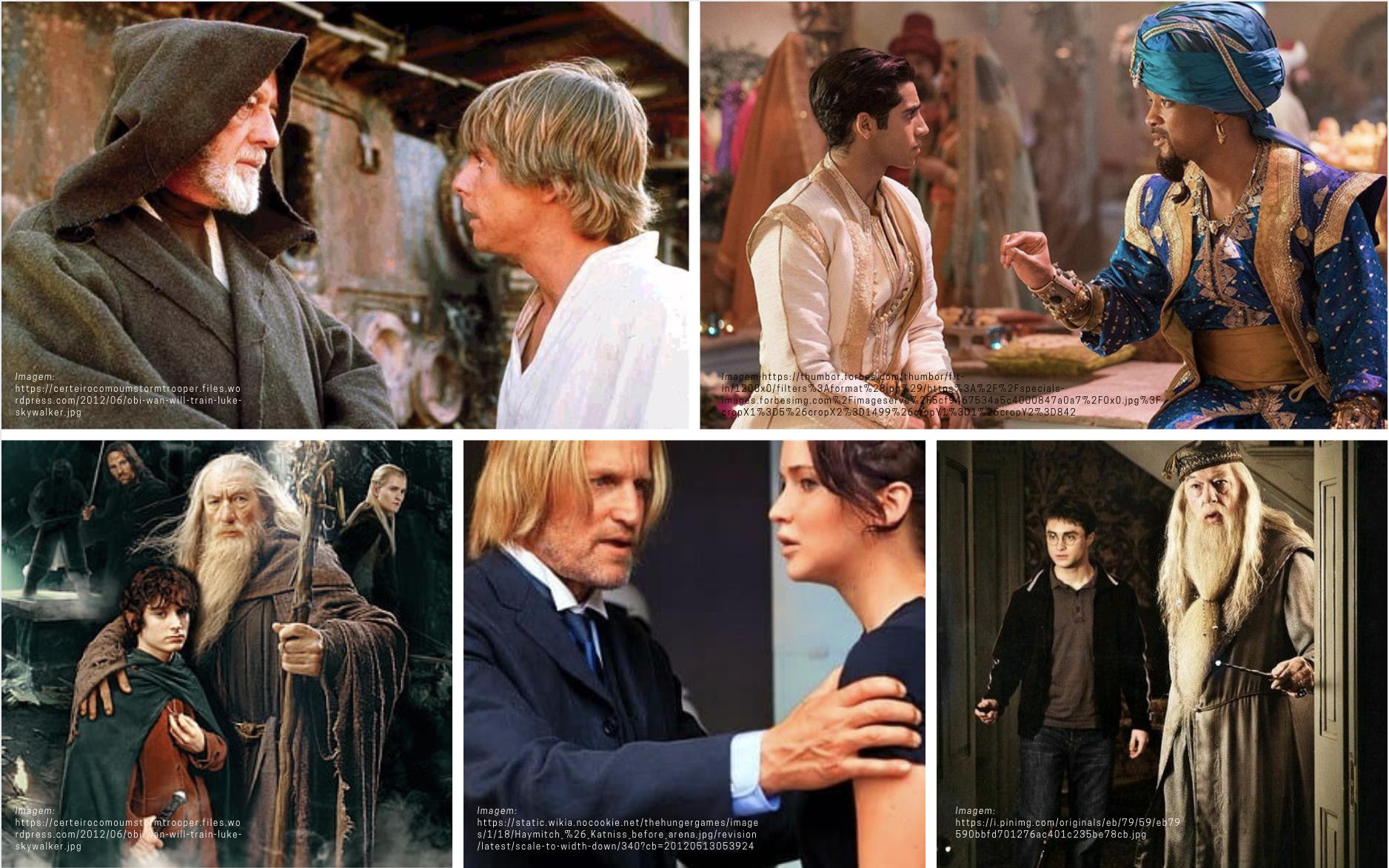 Obi-Wan Kenoby em Star Wars; Gênio da lâmpada em Aladdin; Gandalf em O Senhor dos Anéis; Dumbledore em Harry Potter.