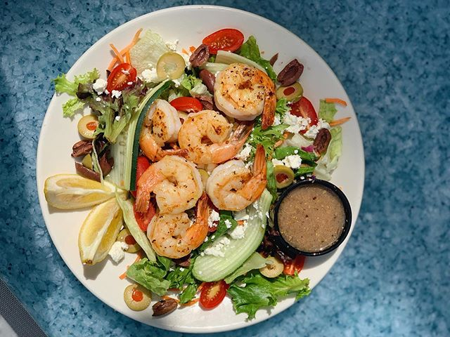Lunch special today is a Shrimp Greek Salad🥗 YUM!