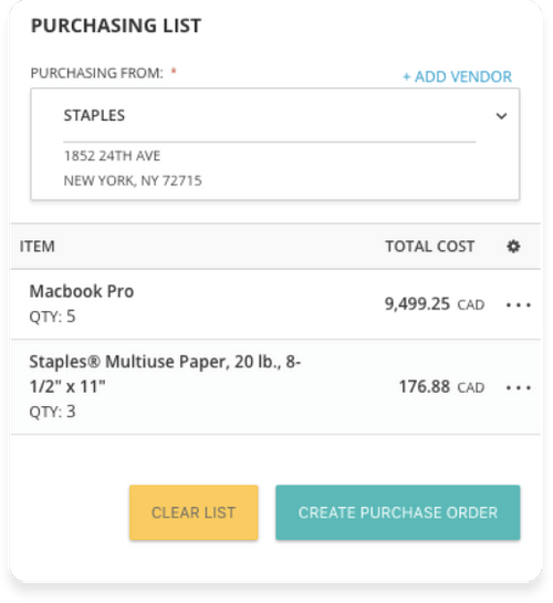 Consolidate purchases in a single purchase order