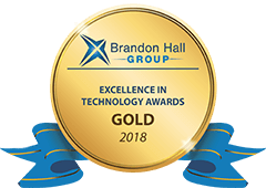 Gold medal with a blue ribbon - The 2018 Brandon Hall Group Excellence in Technology Awards Gold Medal - OttoLearn Agile Microlearning