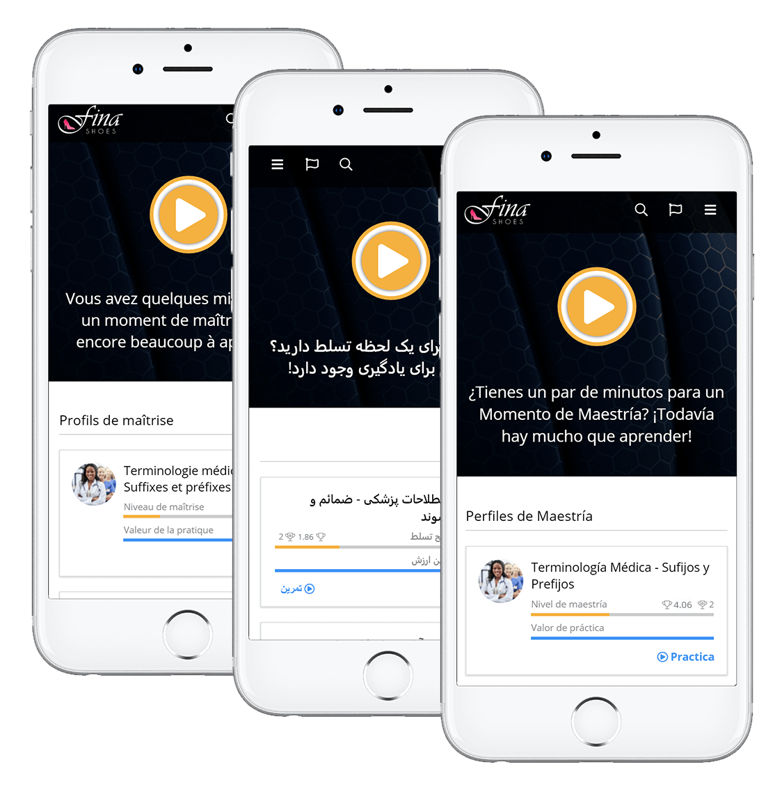 Examples of OttoLearn's interface in French, Persian (Farsi), and Spanish - Otto's Platform is Multilingual - OttoLearn Adaptive Microlearning