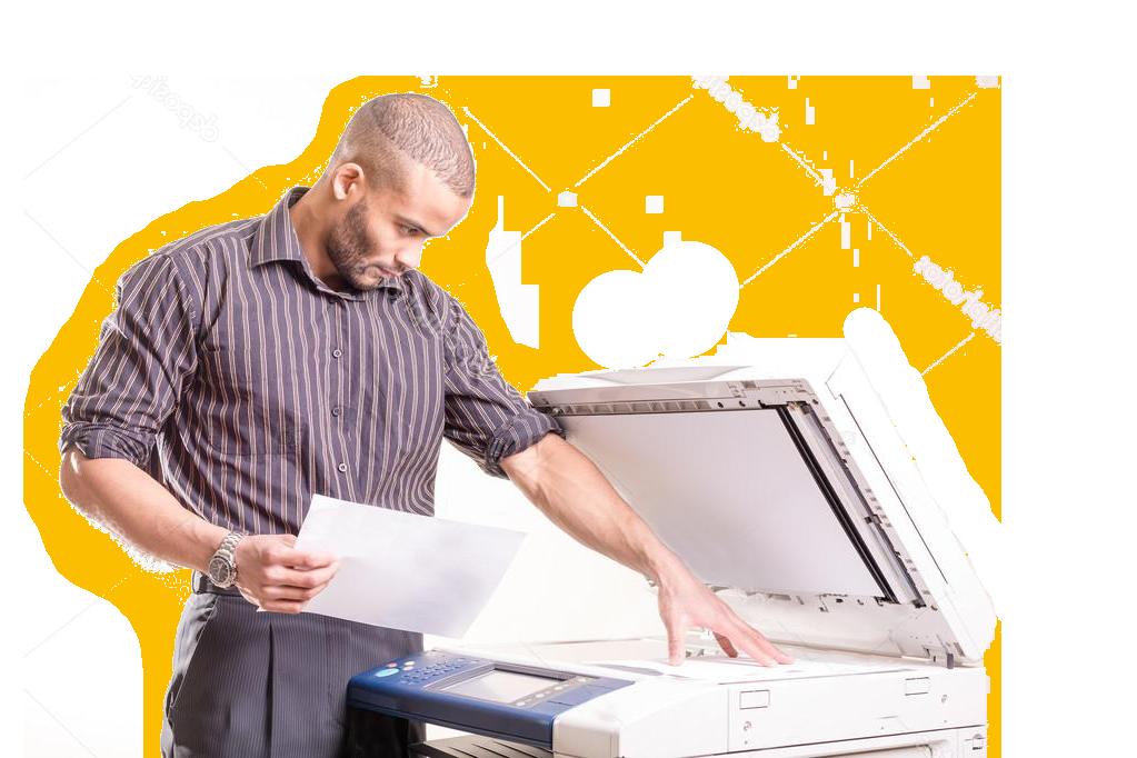 man making copies