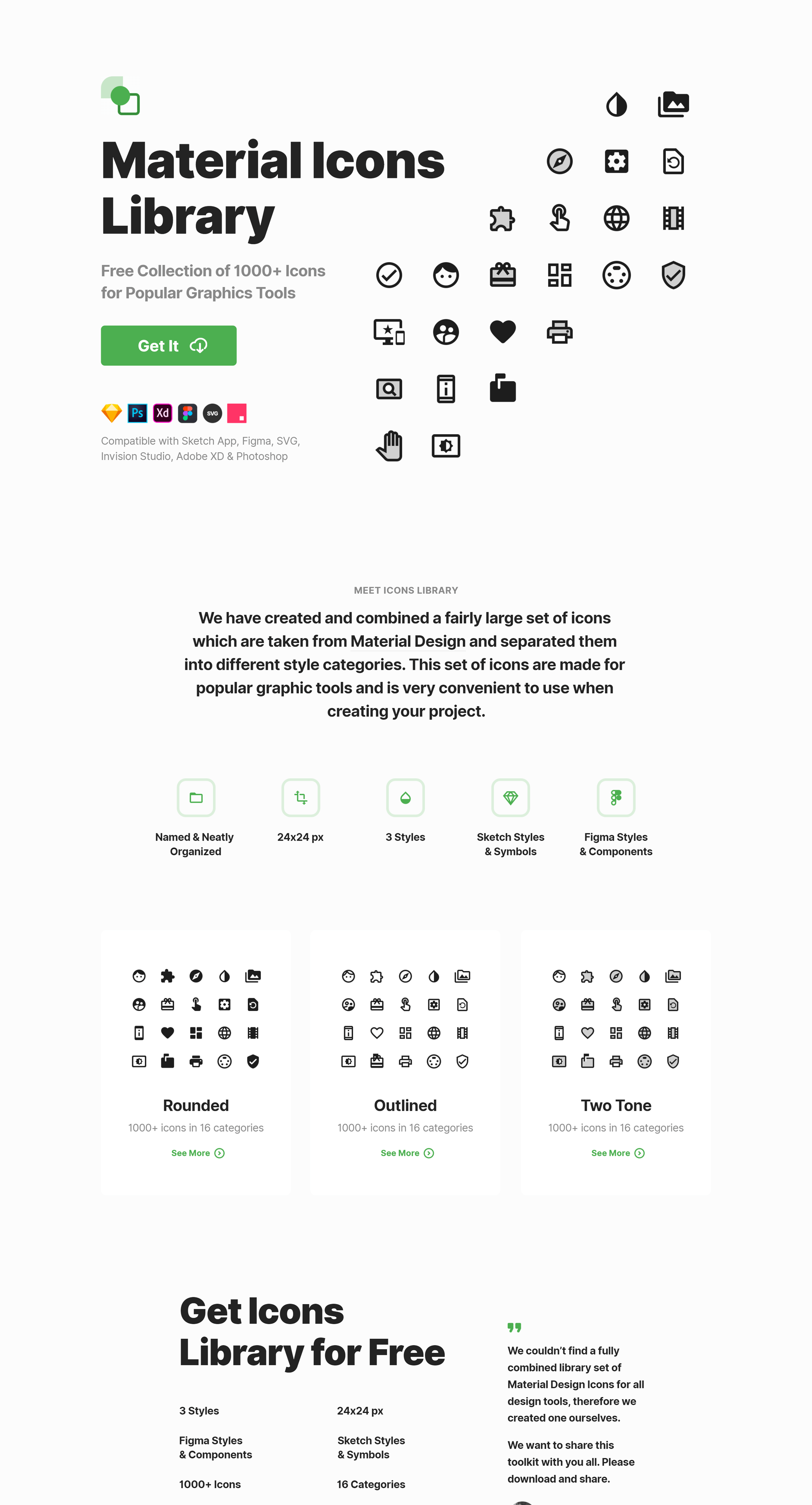 Free Collection of 1000+ Icons for Popular Graphics Tools. Large set of icons which are taken from Material Design and separated them into different style categories. This set of icons are made for popular graphic tools and is very convenient to use when creating your project.