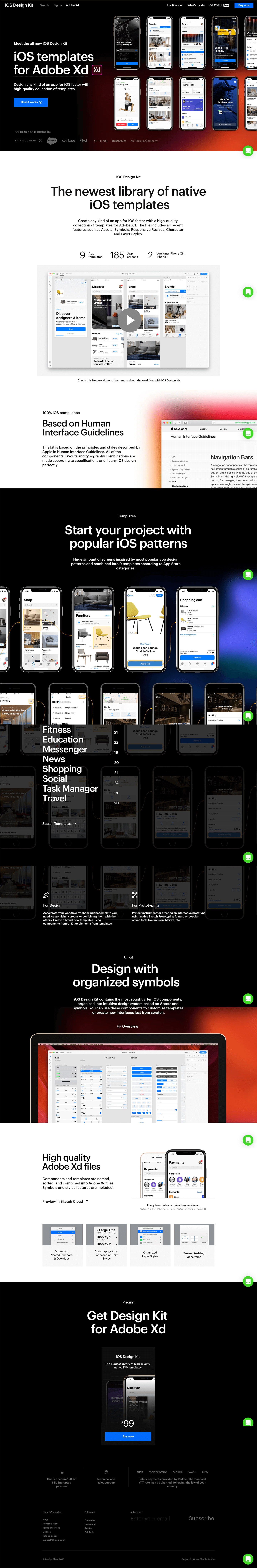 The newest library of native iOS templates. Create any kind of an app for iOS faster with a high-quality collection of templates for Adobe Xd. The file includes all recent features such as Assets, Symbols, Responsive Resizes, Character and Layer Styles.