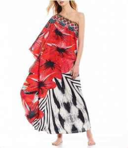 Floral One Shoulder Maxi beach cover up