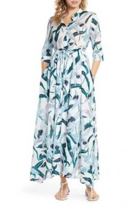 Tropical Shirt Dress Maxi Beach Cover Up