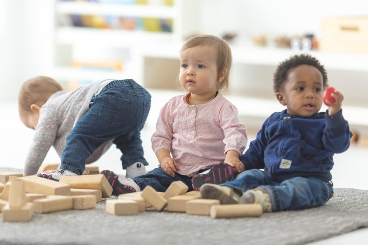 Infants playing at Montessori School