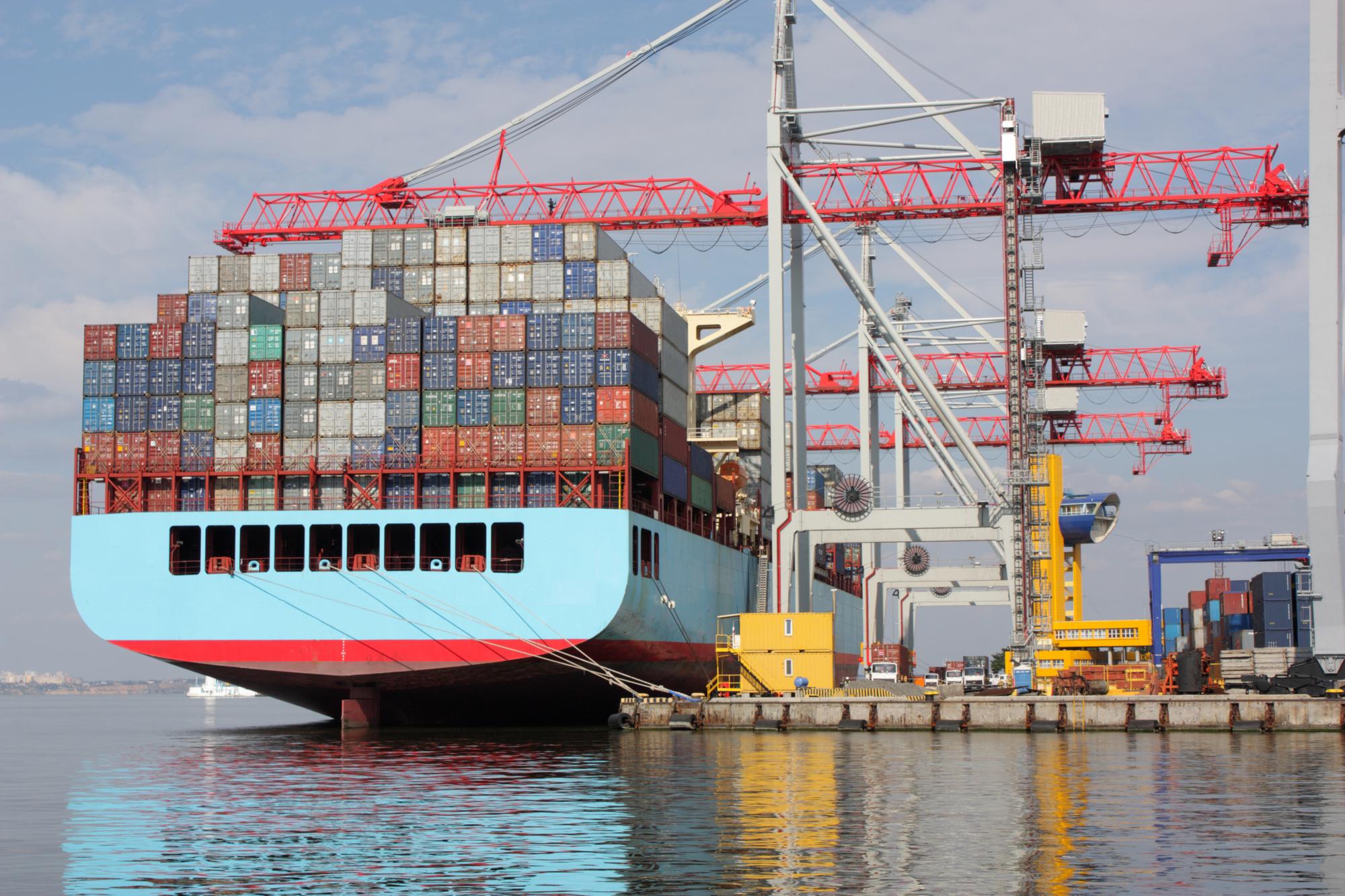 Shipping cranes at port