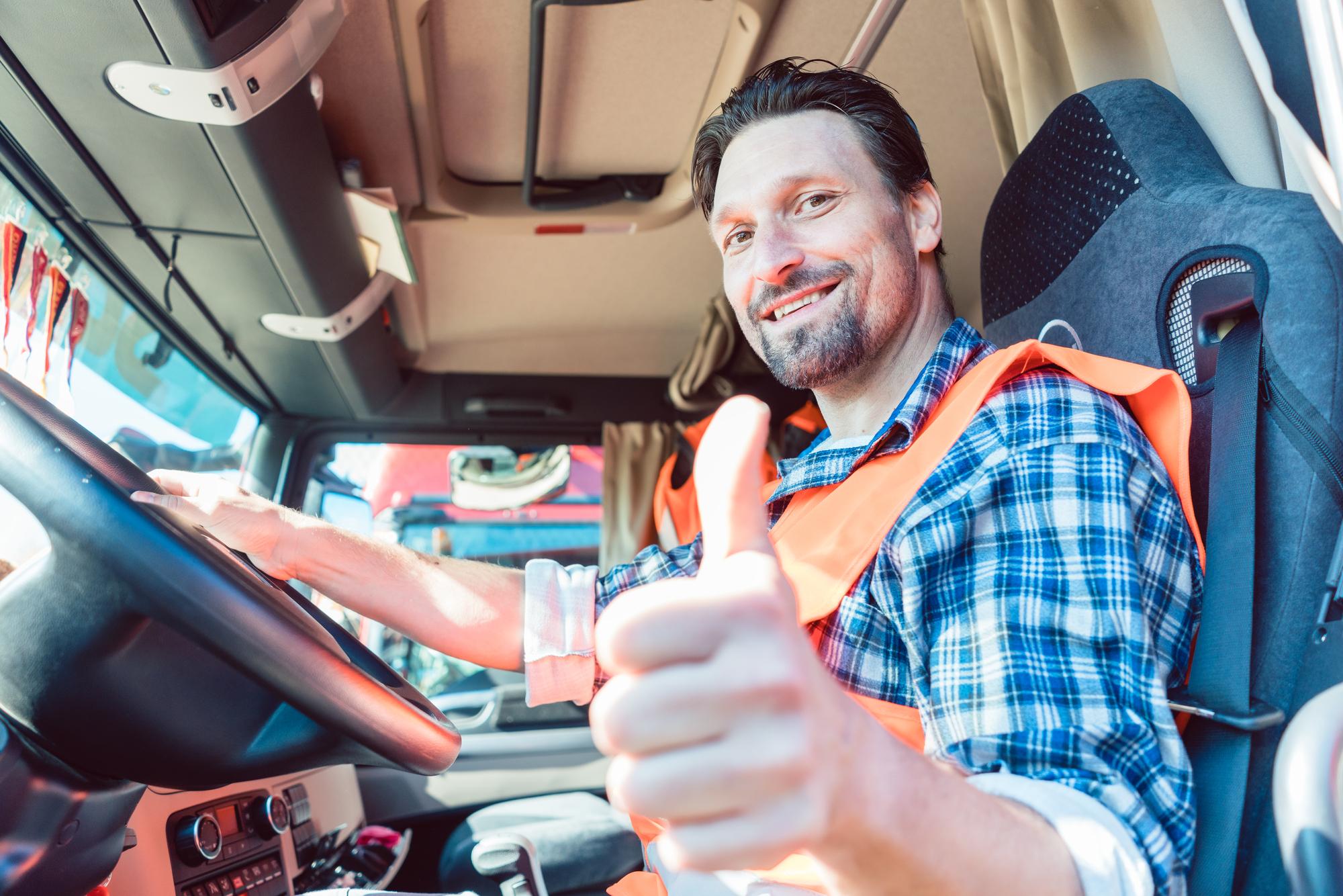 A happy truck driver
