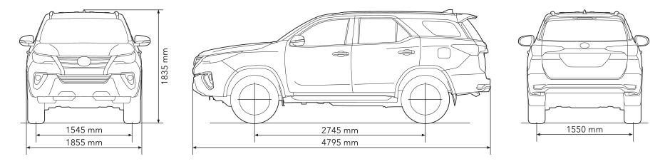 Kích thước xe Fortuner 2017