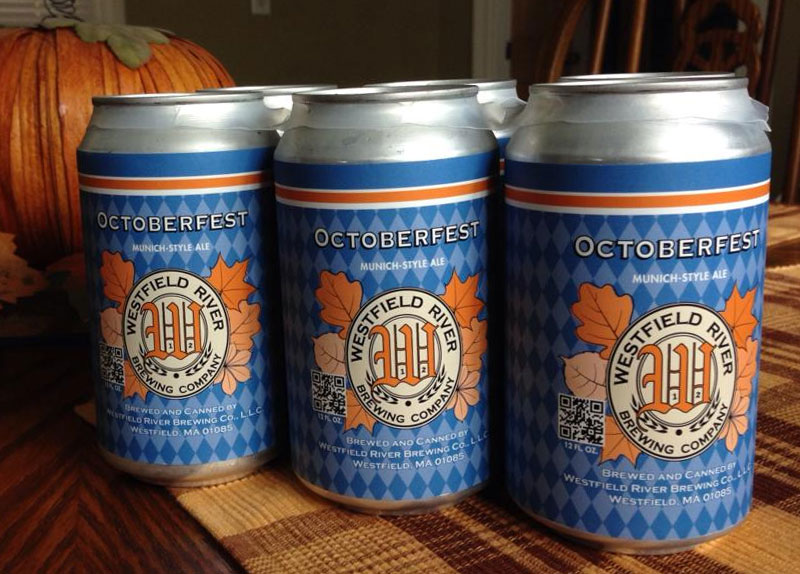 Westfield River Brewing Co can design for Octoberfest beer