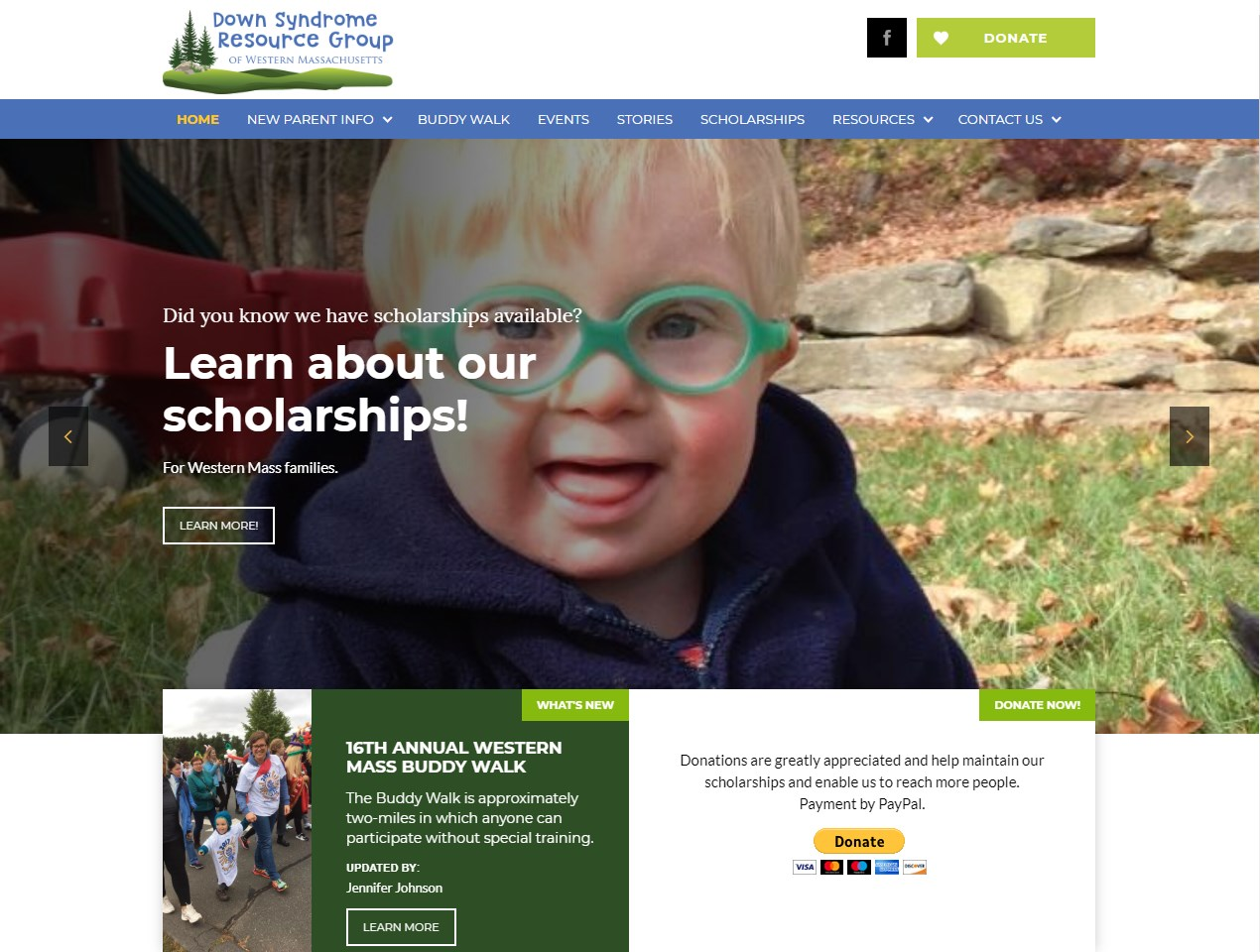 Down Syndrome Resource Group website screenshot