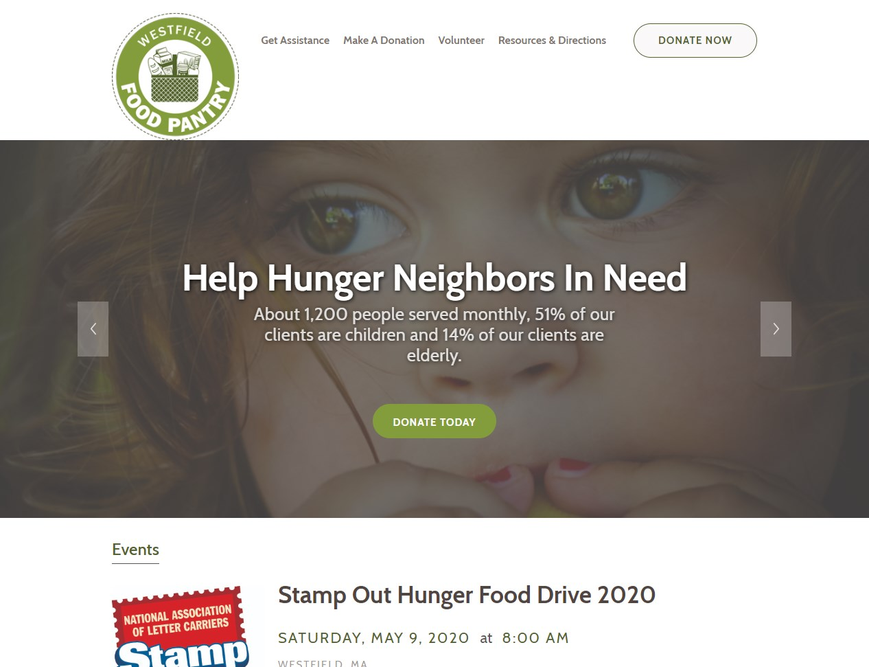 Westfield Food Pantry website screenshot