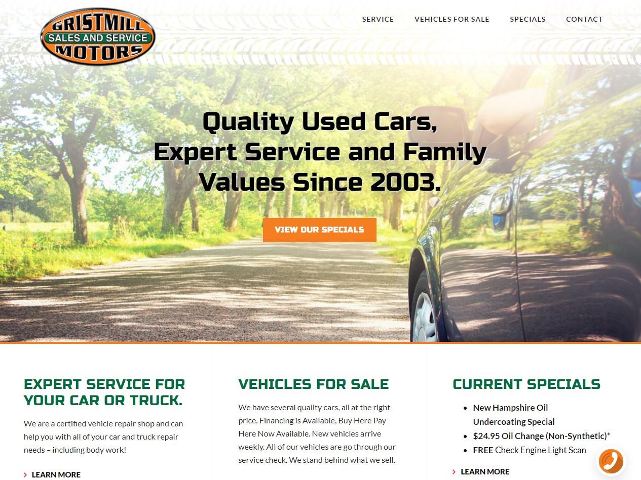 Gristmill Motors website screenshot