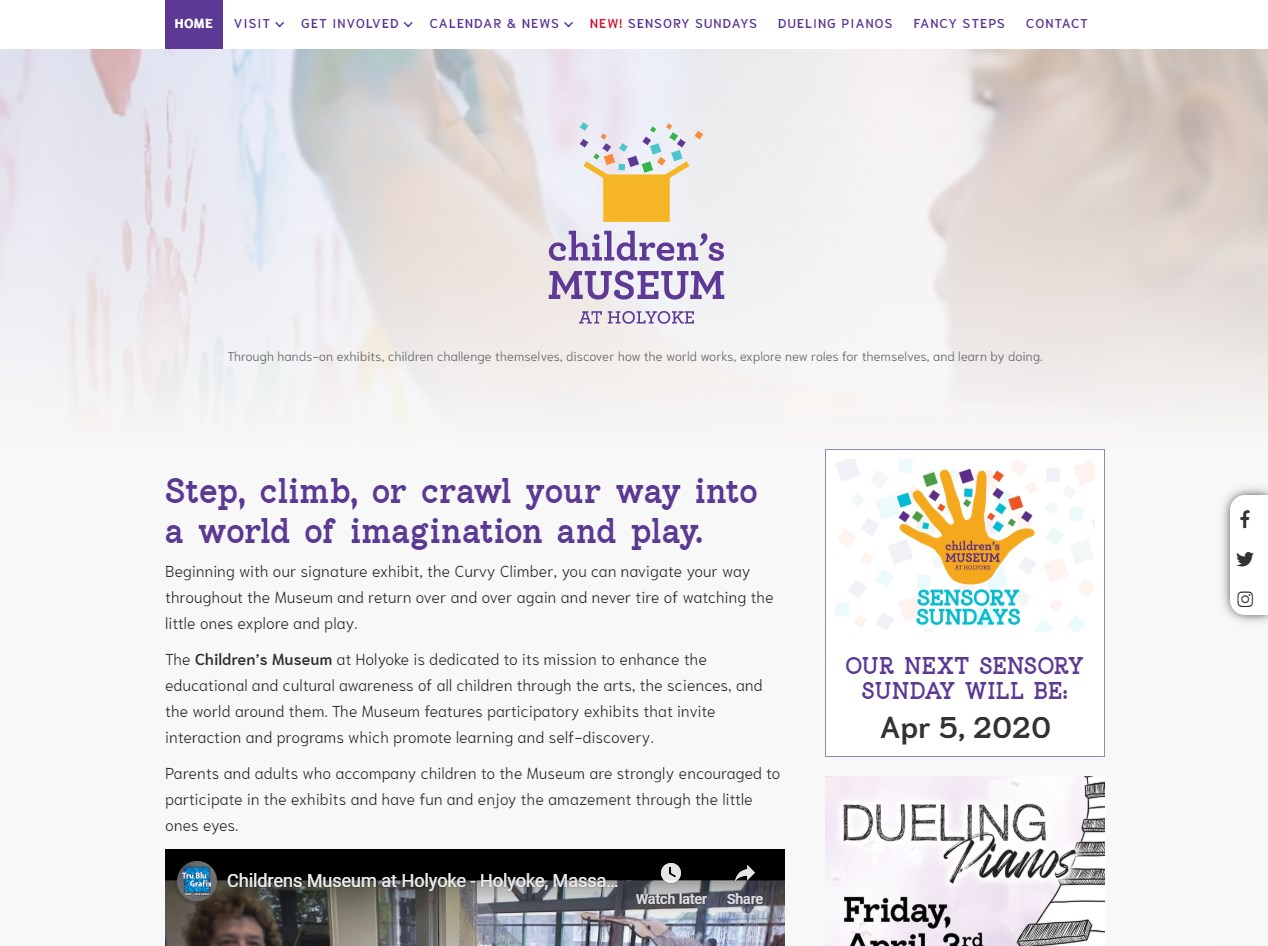 Children's Museum Holyoke website screenshot