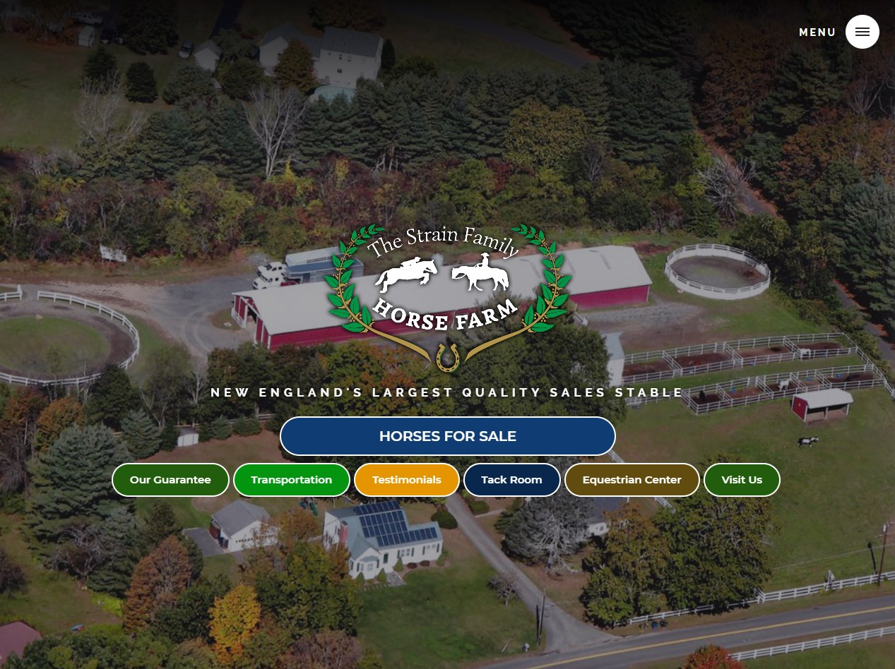 Strain Family Horse Farm website screenshot