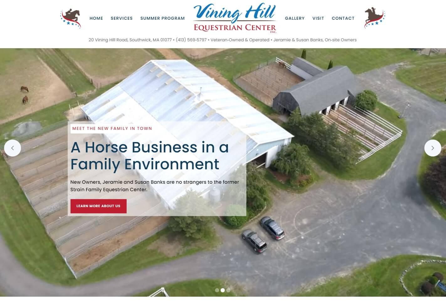 Vining Hill Equestrian Center website screenshot