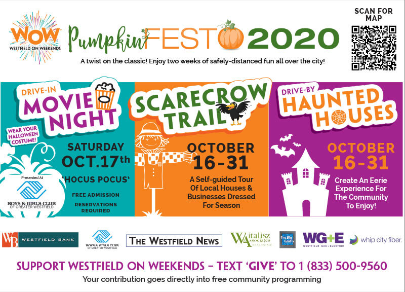 PumpkinFest 2020 social media promos for Scarecrow Trail, Haunted House and Movie Night