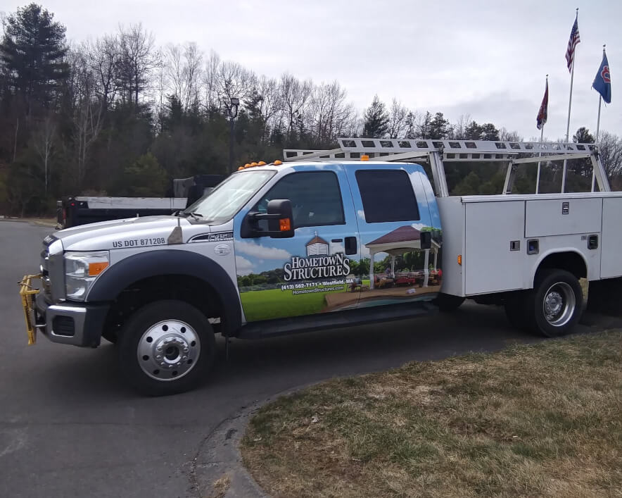 Hometown Structures truck wrap