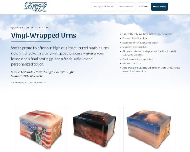 Dynasty Urns website
