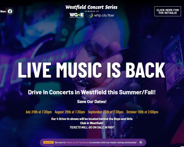 Westfield Concert Series 2021 Website screenshot