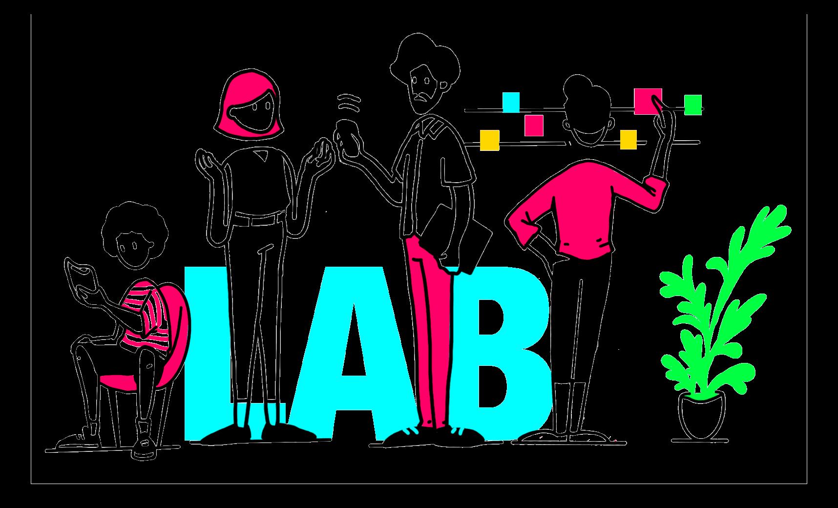 ilustração de personagens executando serviços do laboratório de inovação