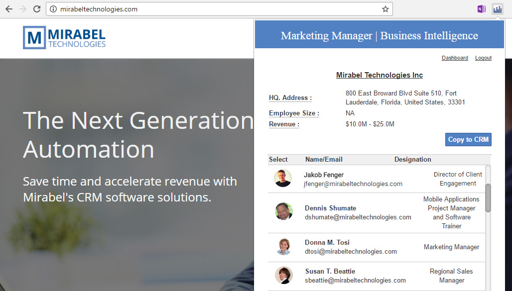 Mirabel Marketing Manager