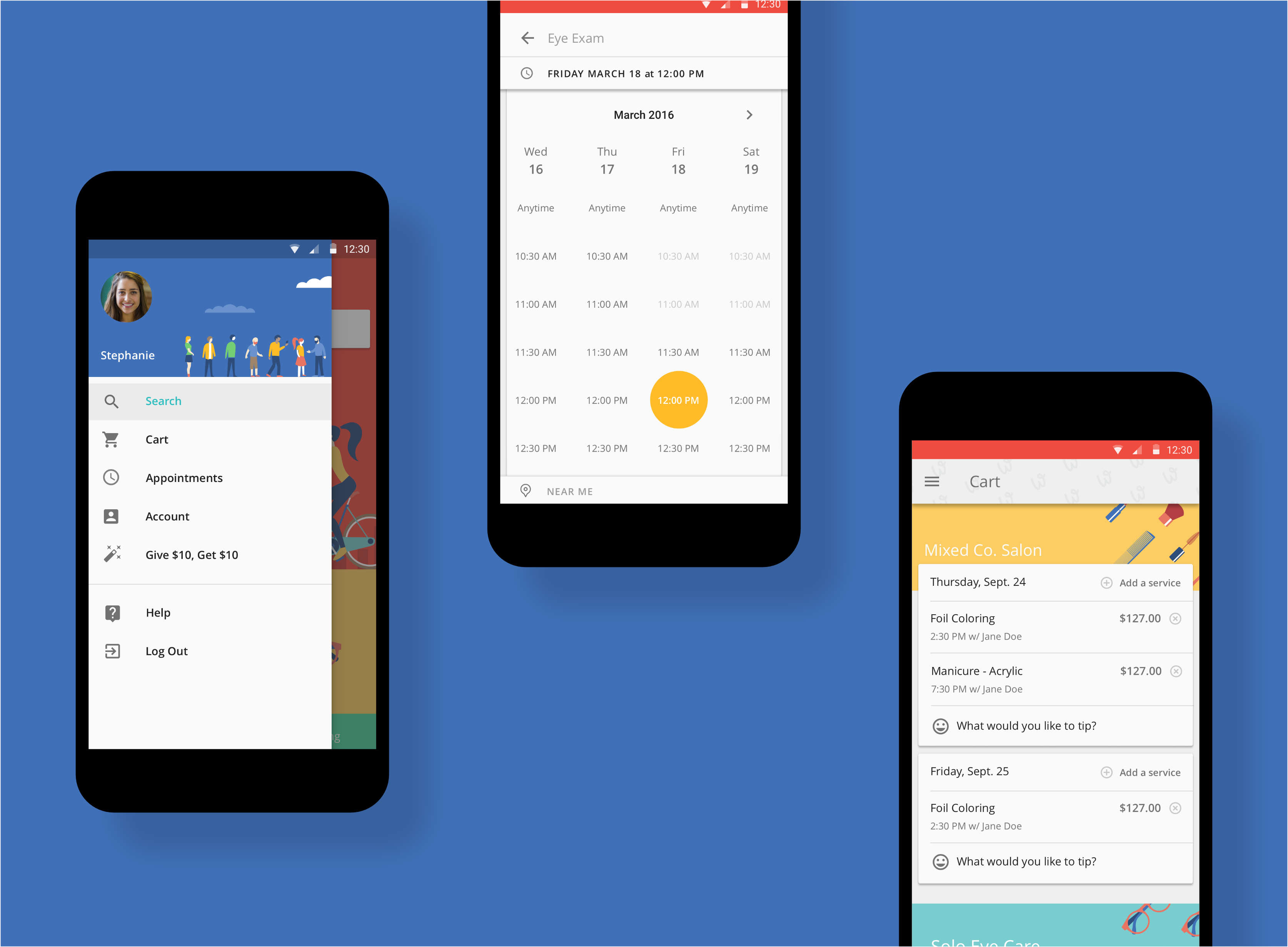 Android App material design screens.