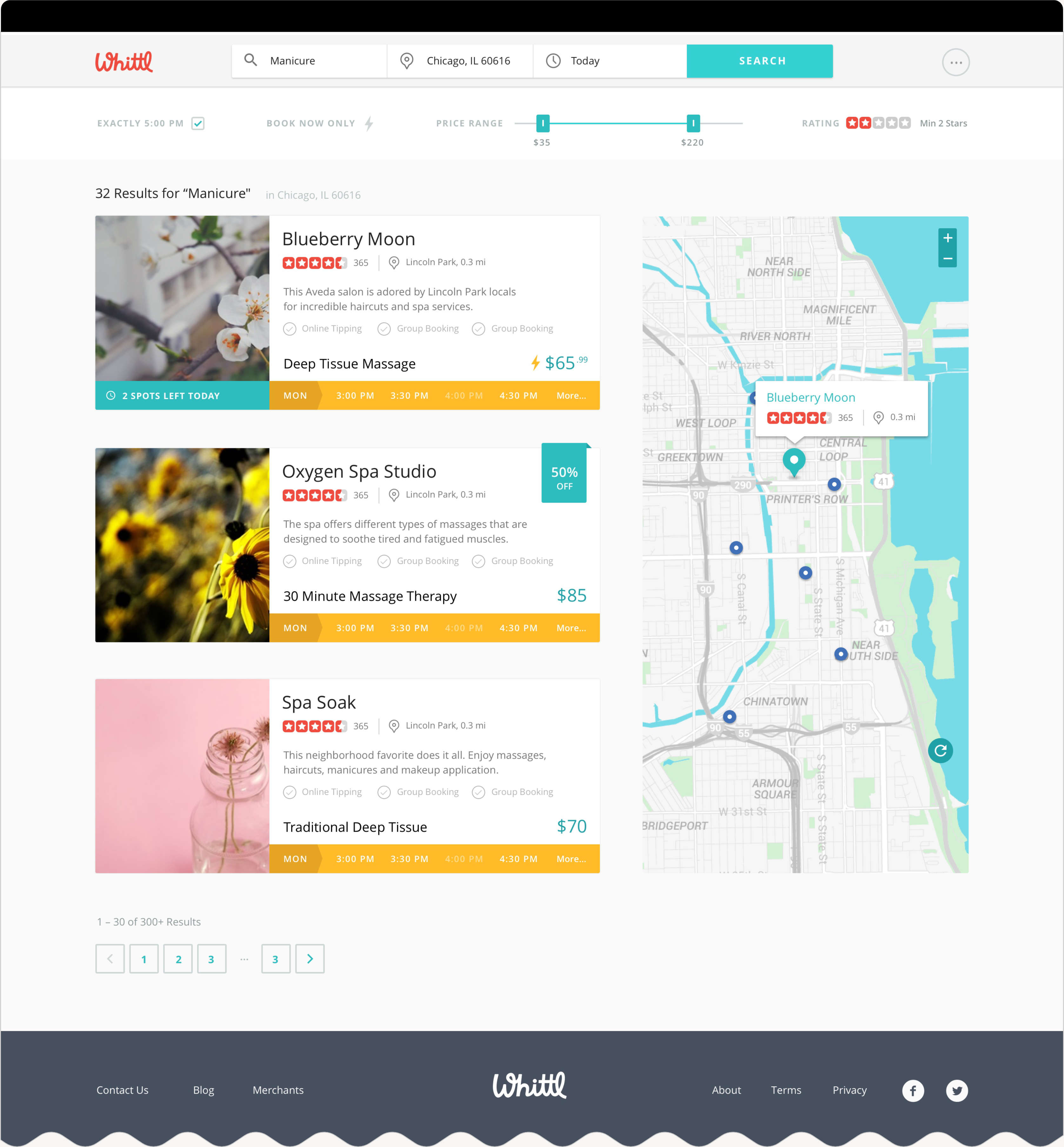 Web design of interactive map.