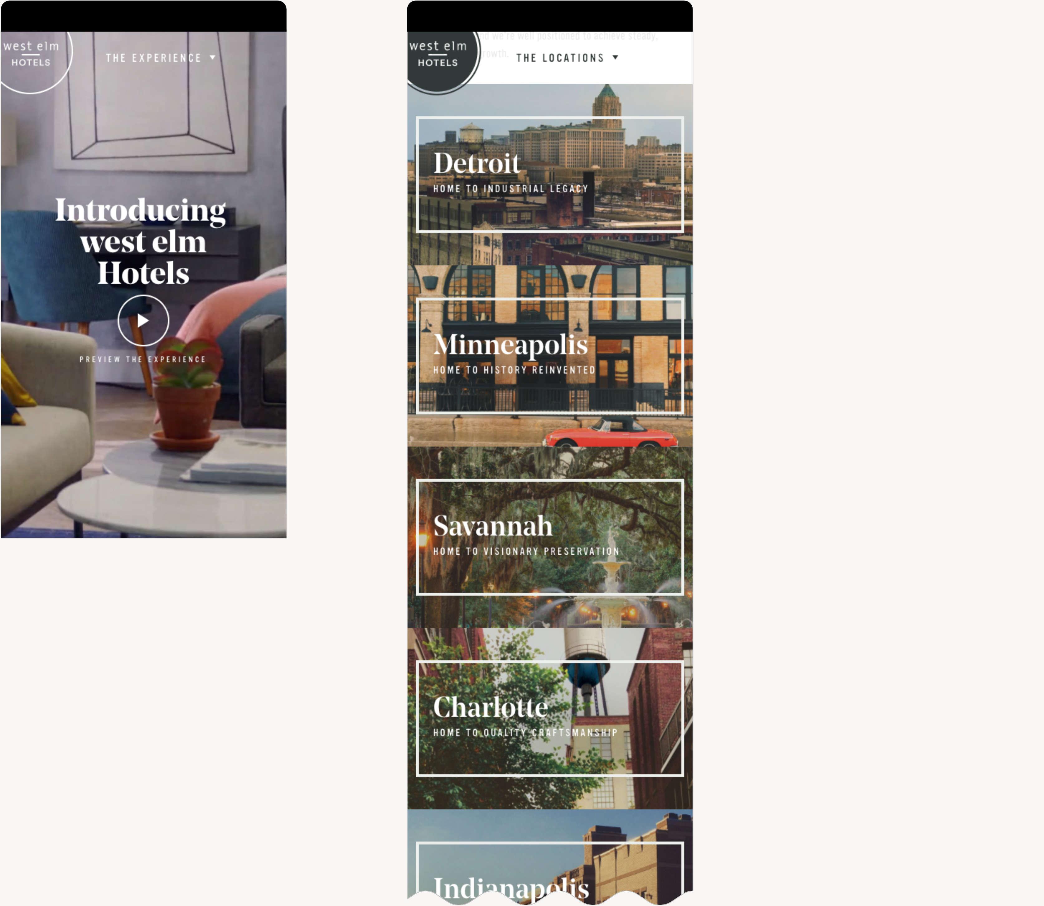 West Elm Hotels Mobile Responsive Web Design