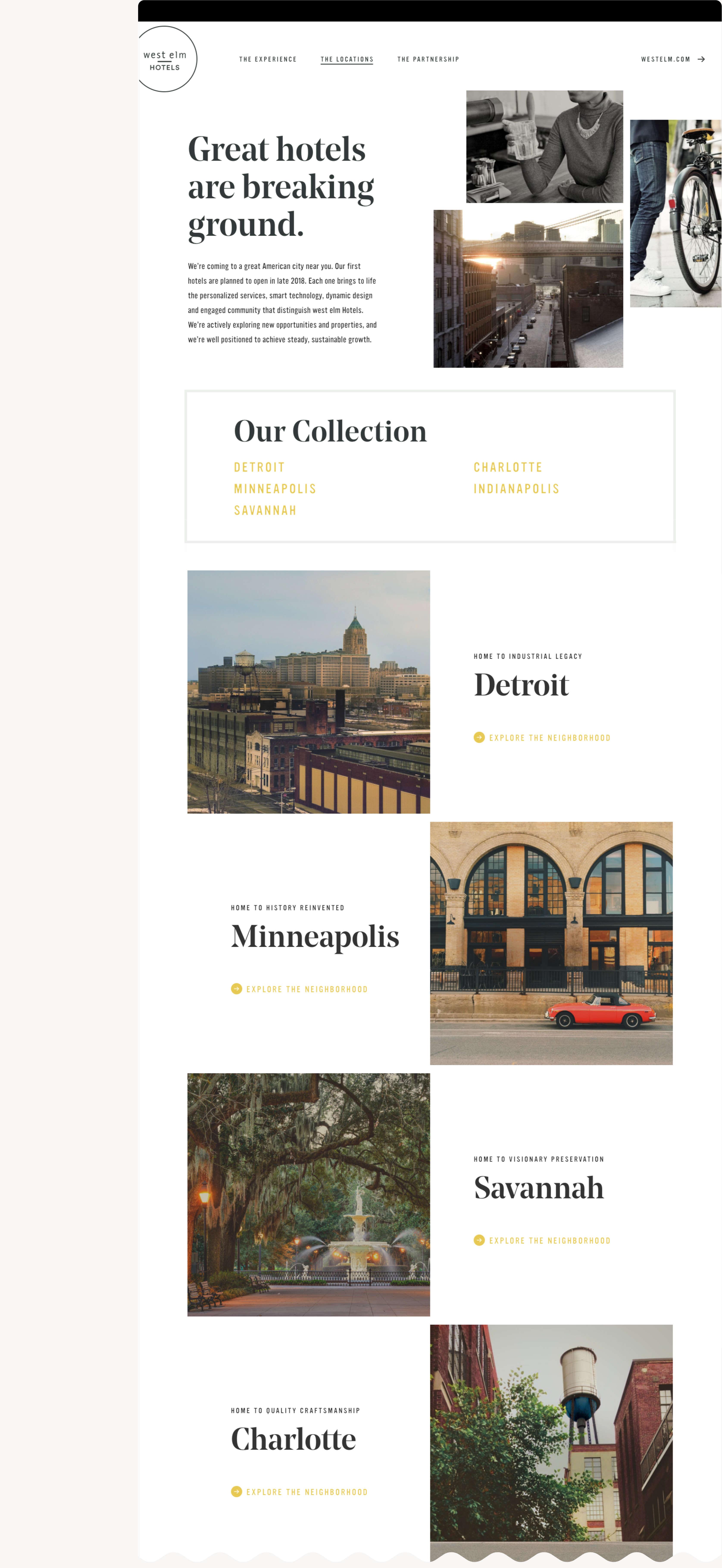 West Elm Hotels Locations Web Design