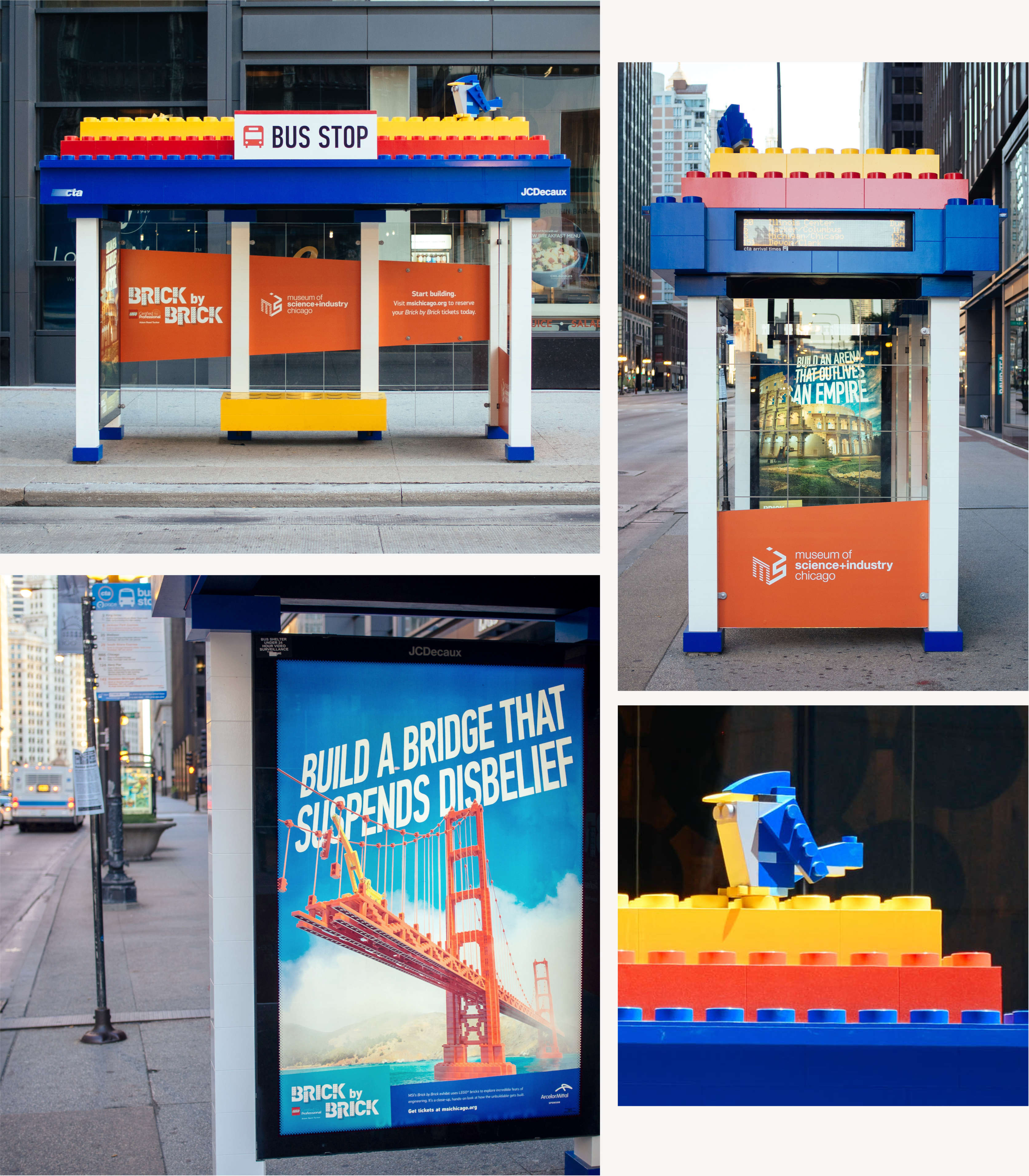 Detail of life size LEGO bus stop and other out of home advertising.