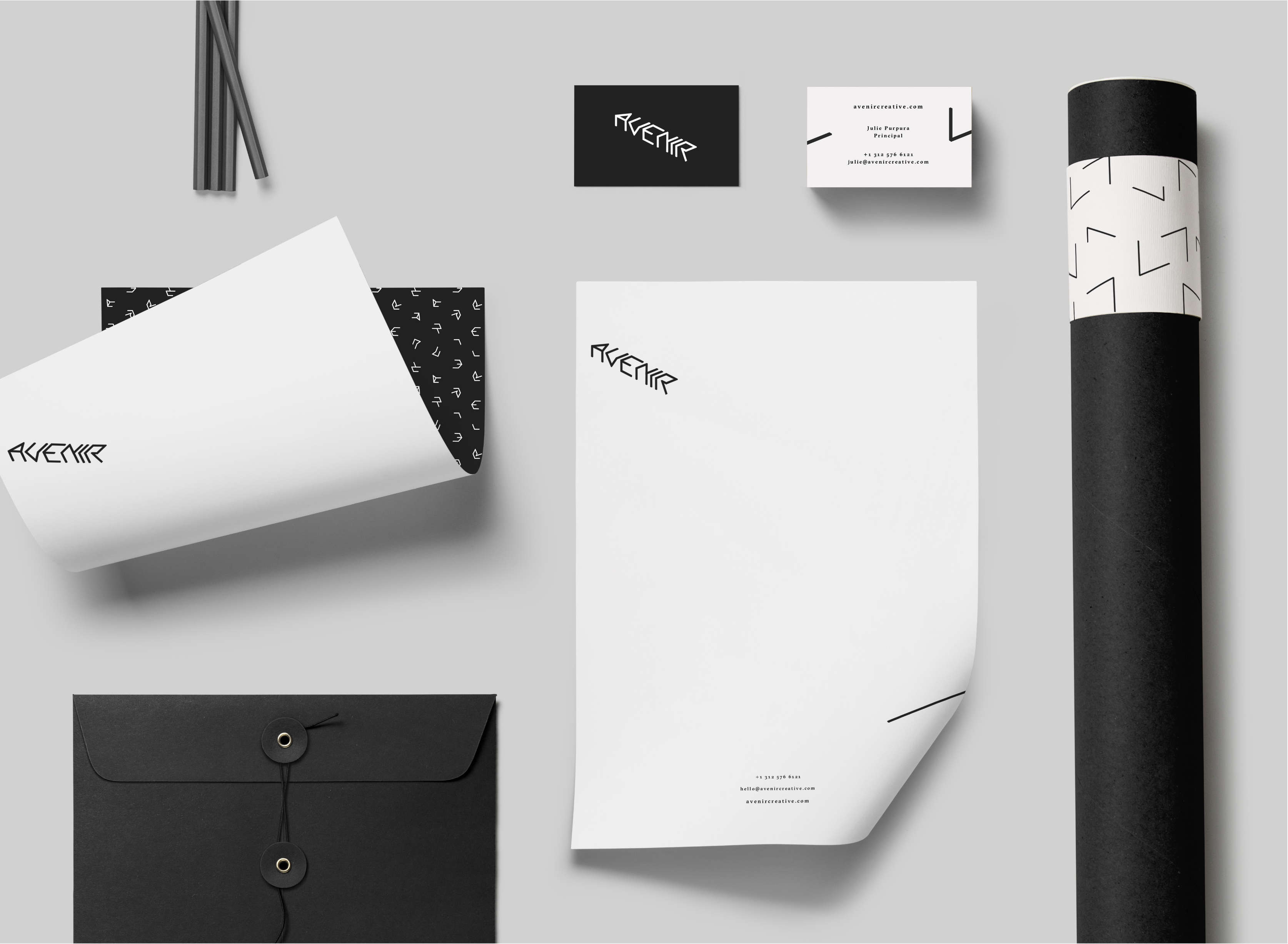 Spread of Avenir identity and branding collateral, including company stationery.