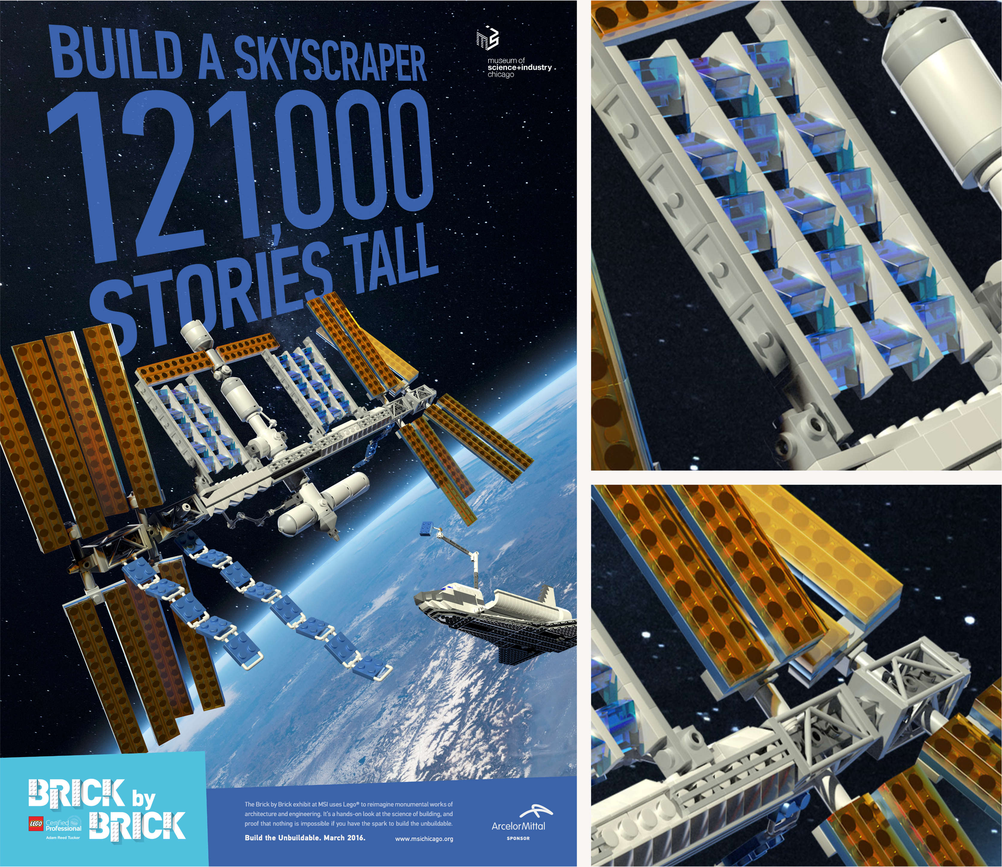 LEGO Space Station advertisement design.