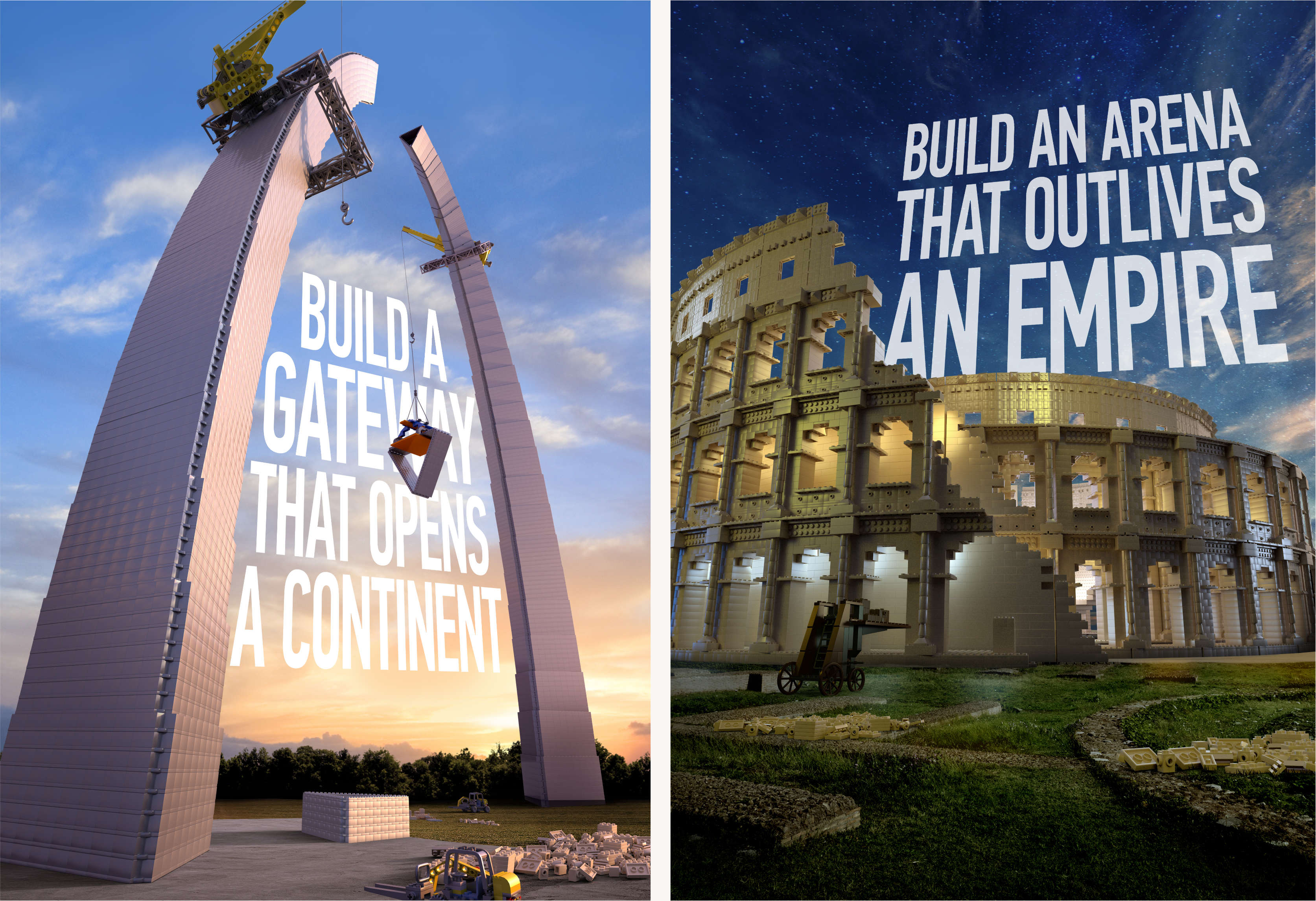 LEGO St. Louis Arch and Roman Coliseum marketing posters.