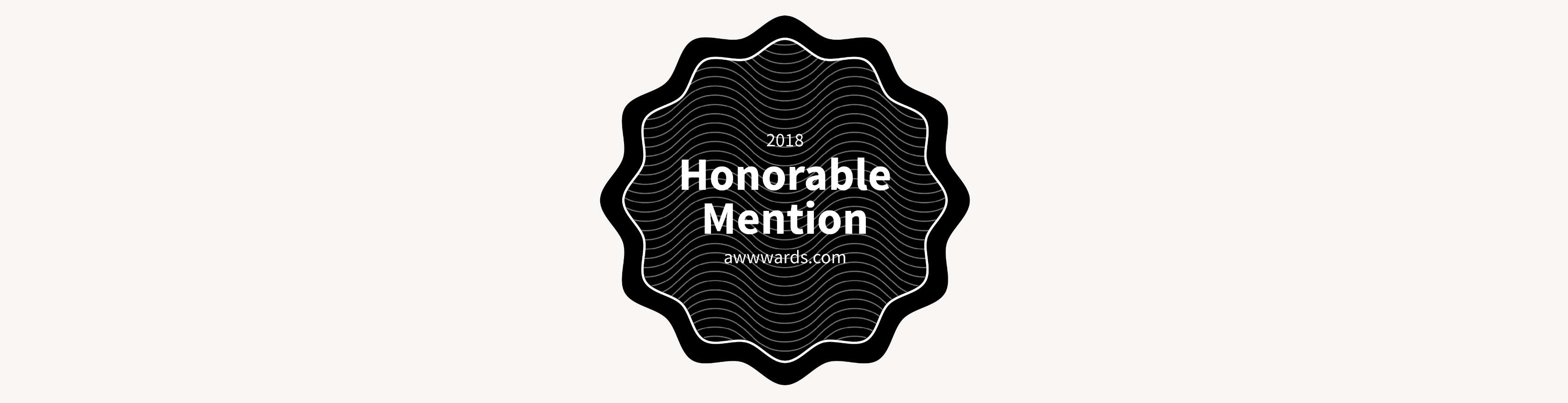 Honorable Mention award badge from Awwwards .com.