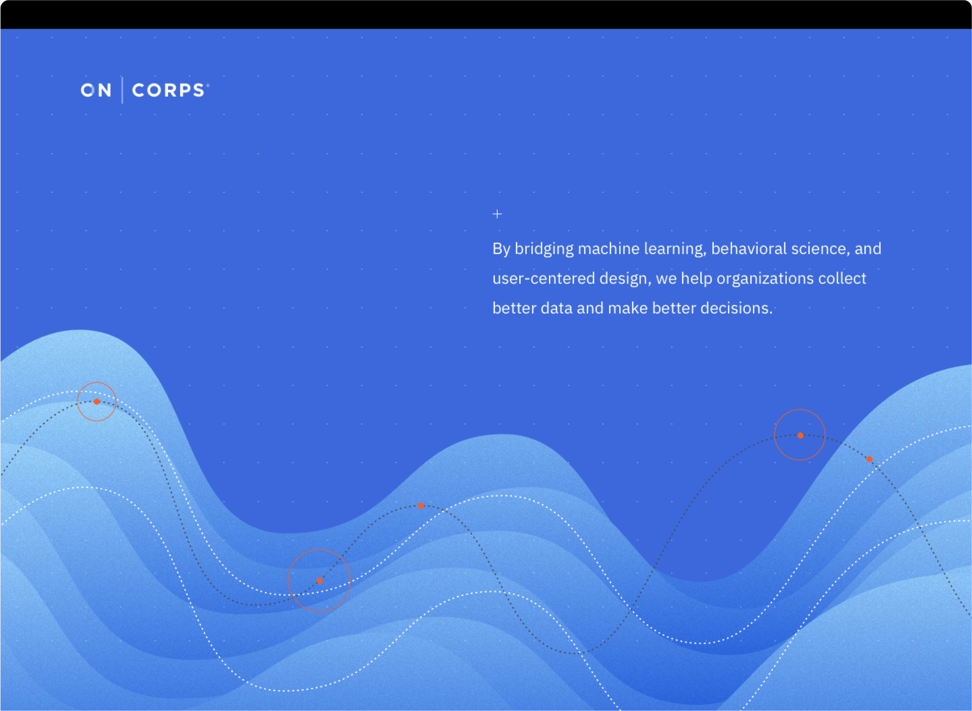 Oncorps .io detail screen of homepage, including wavy chart animation and headline.