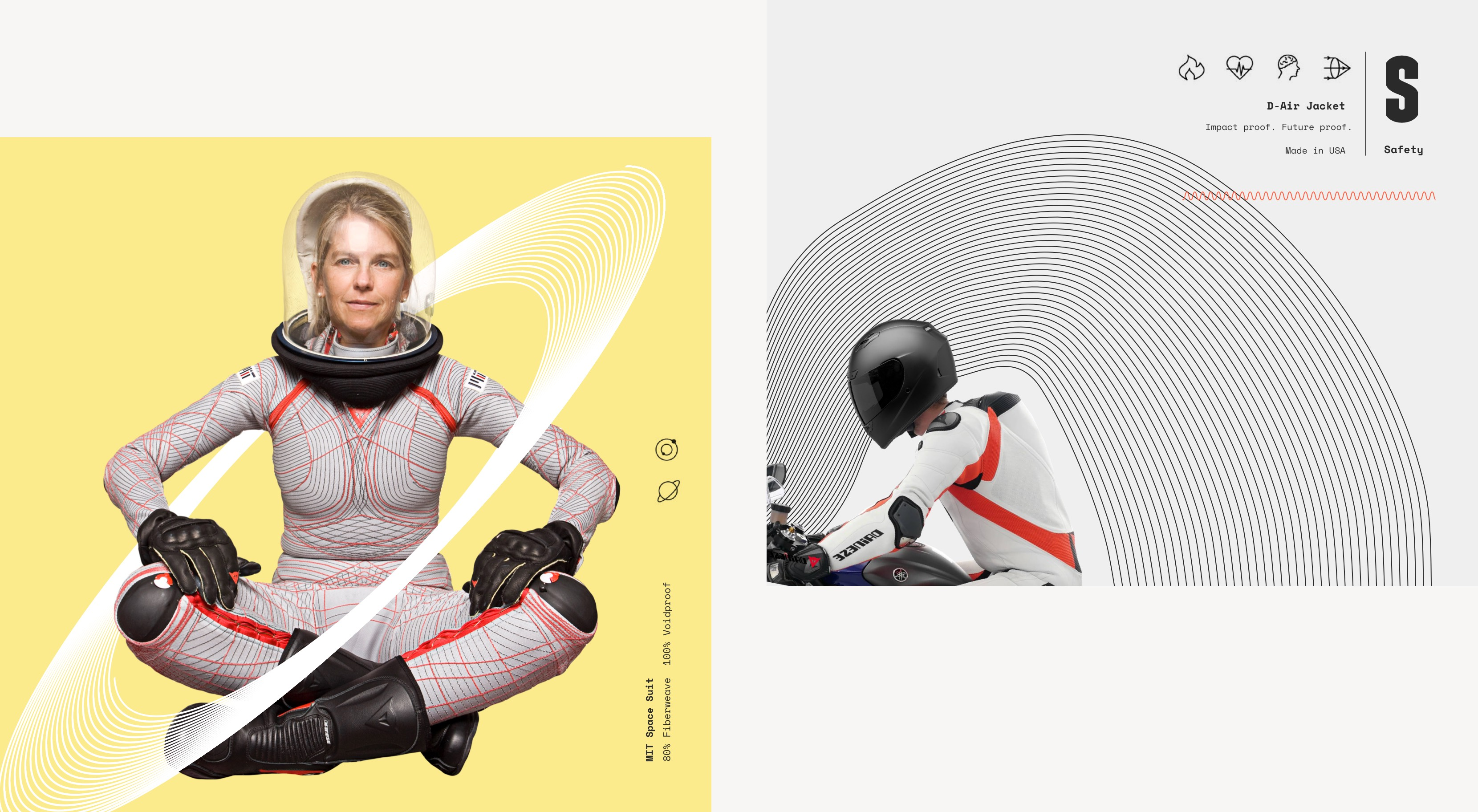 Wired to Wear brand design mood boards, showing female astronaut and motorcycle rider.