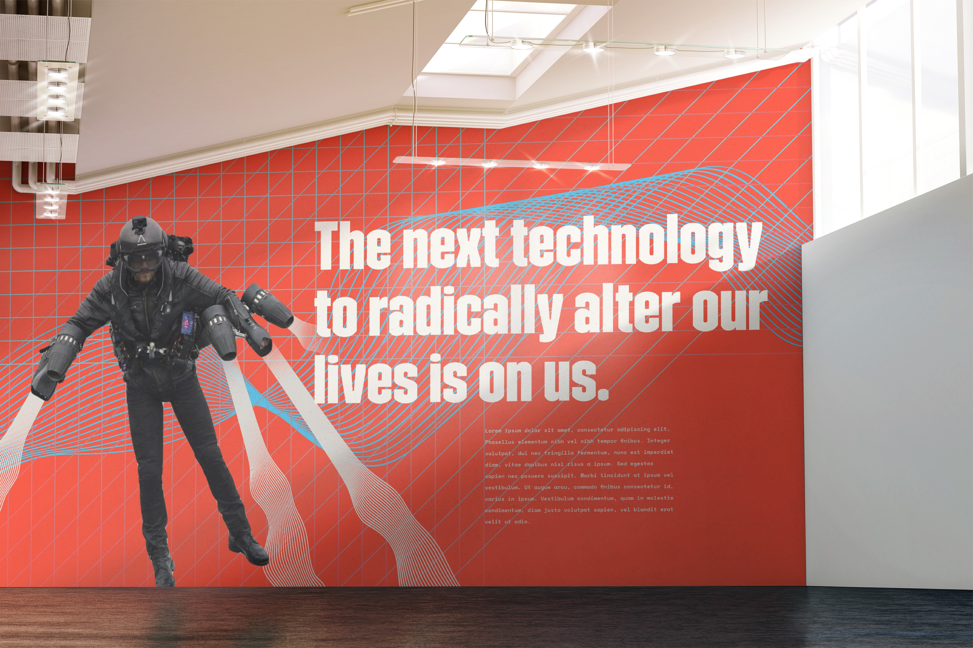 Wired to Wear entry wall graphic, showing man with a jet pack.