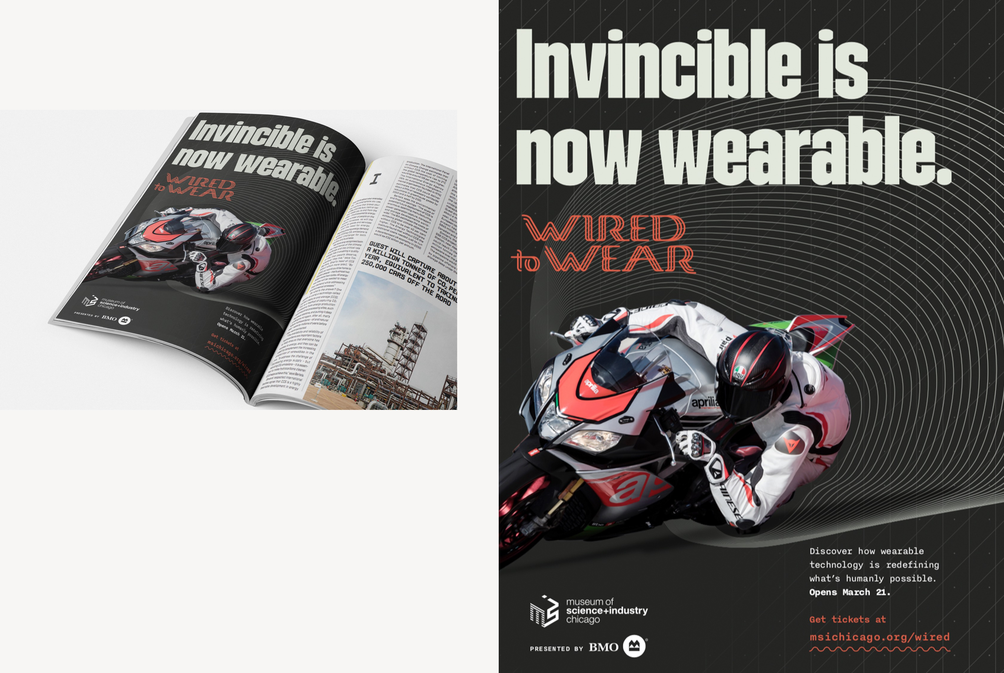 Print advertising for Wired to Wear exhibit, showing a motorcycle rider wearing smart armor.