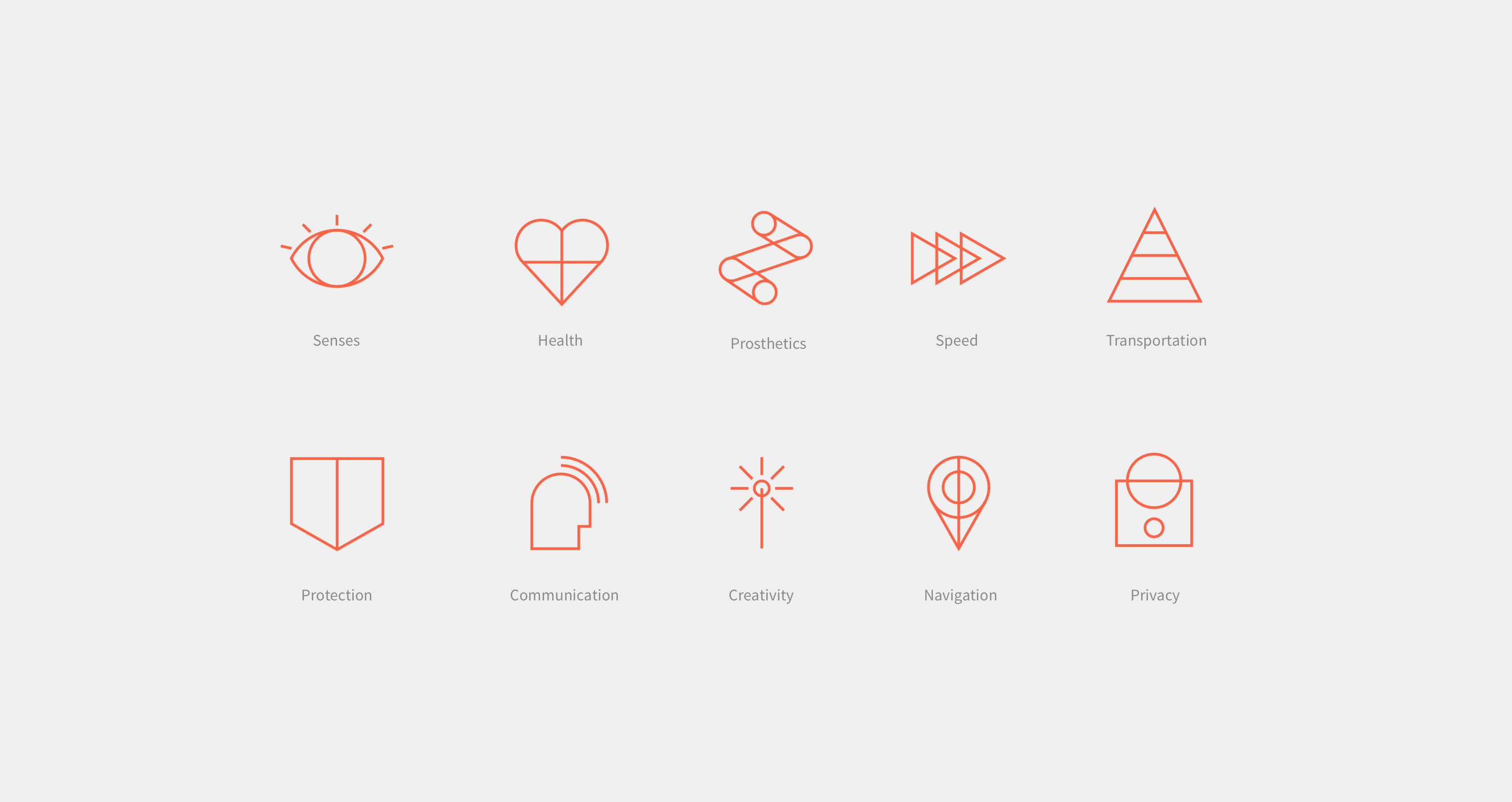 Icon design for Wired to Wear exhibit showing key functionalities of wearable technology.