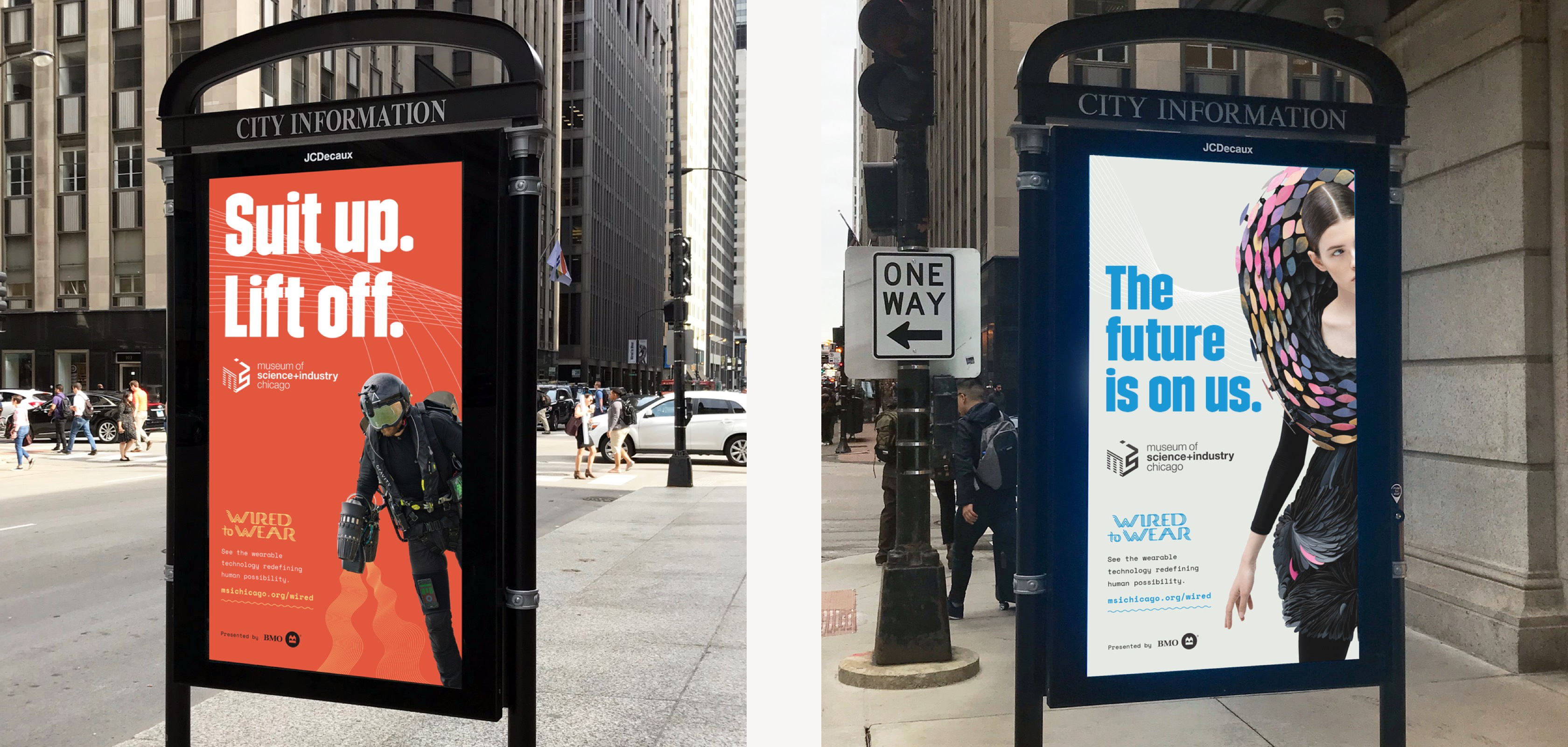Out of home advertising for Wired to Wear exhibit, including street level posters of jet pack and interactive gown.